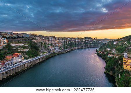 Sunrise over Porto city and Vila Nova de gaia city (right), Portugal