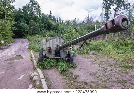 D44 field gun in Mamerki (Maurewald) - Nazi bunker complex during WW2 in Poland