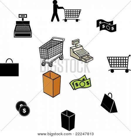 shopping illustrations and symbols set