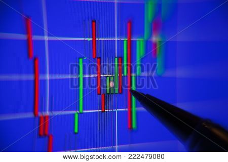 Financial Graph On A Computer Monitor Screen. Background Stock Chart.