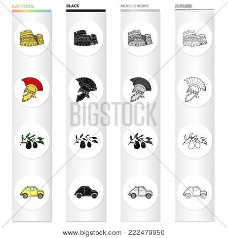 The ruins of the Colosseum, a Roman helmet, a branch of olives, an Italian car. Italy country set collection icons in cartoon black monochrome outline style vector symbol stock illustration .