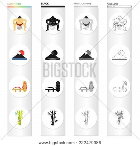 Sumo wrestler, Mount Fuji, bamboo, Japanese shoes, geta.Japan set collection icons in cartoon black monochrome outline style vector symbol stock illustration .