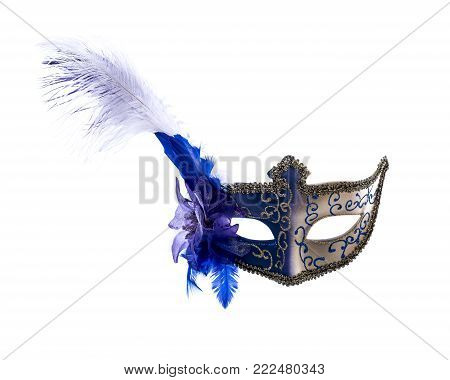 Blue venetian carnival mask with feathers isolated on a white background.