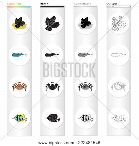 Mussels, sea whale, crab, fish clown.Sea animal set collection icons in cartoon black monochrome outline style vector symbol stock illustration .