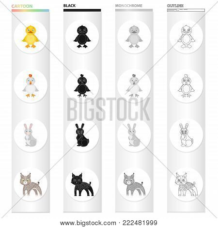 Chicken, baby, bird, and other  icon in cartoon style.Farm, toys, beast, icons in set collection. poster
