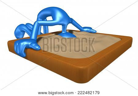The Original 3D Character Illustration With Head In The Sand