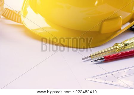 civil engineer with tool equipment top view