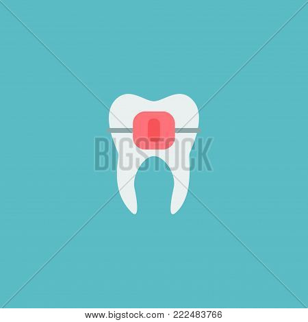 Icon flat alignment element. Vector illustration of icon flat brace isolated on clean background. Can be used as tooth, brace and alignment symbols.