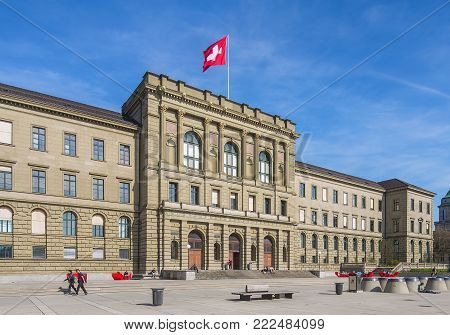 Zurich, Switzerland - 12 April, 2015: facade of the main building of the Swiss Federal Institute of Technology in Zurich. The Swiss Federal Institute of Technology in Zurich is an engineering, science, technology and mathematics university.