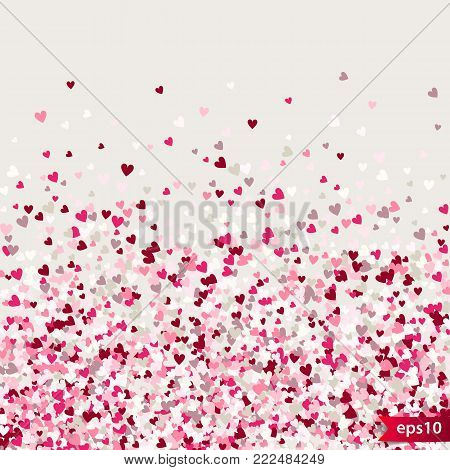 Stipple pattern for design. Colorful minimalistic geometric pattern with randomly located small hearts. Red heart glitter background. Gradually changing density backdrop with red and pink hearts.