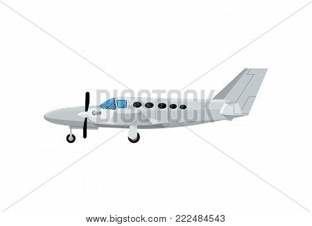 Private turbo propeller airplane icon. Side view screw aircraft, passenger plane isolated on white background vector illustration.