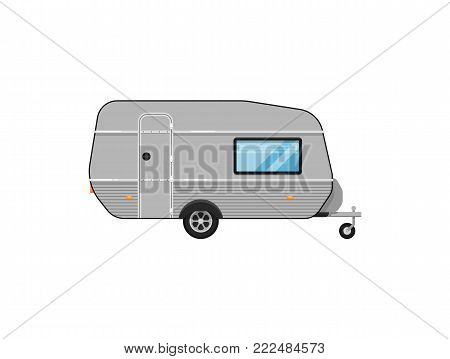 Camping trailer isolated on white icon. Mobile home for country and nature vacation. Side view recreational vehicle van vector illustration in flat syle.