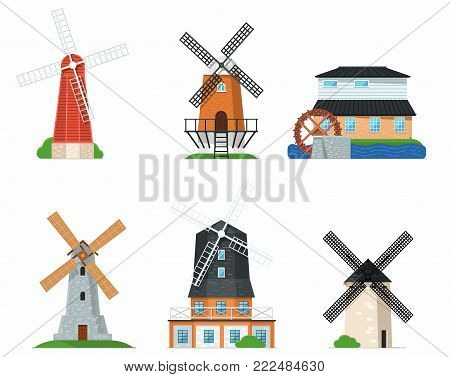 Traditional ancient windmill buildings set. Rural bakery shop, organic agricultural production, ecological food manufacturing, clean energy concept. Medieval european windmill vector illustration.