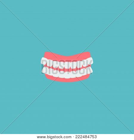 Icon flat denture element.  illustration of icon flat artificial teeth isolated on clean background. Can be used as denture, artificial and teeth symbols.