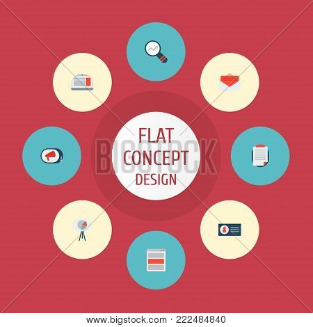 Icons flat style campaign, ad banner, email promotion and other  elements. Set of advertising icons flat style symbols also includes ad, advertising, campaign objects.