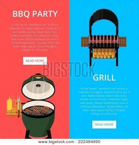 Barbecue party flyers with grilled meat skewers and sausages on grill. Outdoor cooking equipment with delicious food vector illustration. Garden BBQ picnic, traditional weekend food preparation.