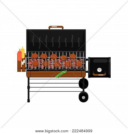 Barbecue gas grill with grilled burgers isolated icon. Outdoor cooking equipment with assorted delicious food vector illustration. BBQ restaurant menu elements.
