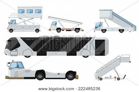 Passenger airport ground technics isolated set in flat style. Tow truck, passenger ladder, modern bus, baggage cart vector illustration. Aviation terminal logistics and airport infrastructure elements