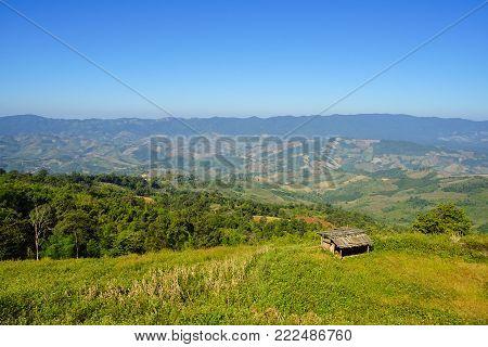 Little hut on the mountain, Phu Chee Fa, Chiang Rai province, Thailand