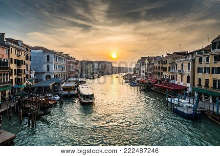 View of the Busy Grand Canal at Sunset