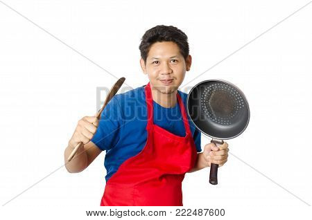 Asian man wear red apron ready for cooking isolated on white background