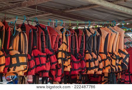 Life jackets prepared for tourists to swim.