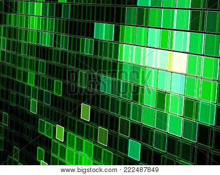Checkered technology background - abstract computer-generated image. Fractal geometry: chaos cells with light effects. For sci-fi, tech or virtual reality design composition.