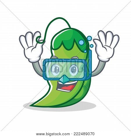 Diving peas character cartoon style vector illustration