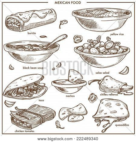 Mexican food cuisine traditional dishes sketch icon for restaurant menu. Mexico fajitas, quesadilla snack and yellow rice, bean soup with nachos and chilles relenos or chicken tamales with Mexican salsa salad