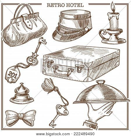 Retro hotel guest travel items and service staff accessory sketch icons. Vector set of traveler suitcase and bag, reception bell and room key with tag, doorman bow tie or porter hat and candle