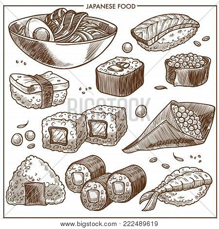Japanese cuisine sketch traditional food dishes icons. Vector set of sushi rolls, tempura shrimp or prawn and seafood rice, miso noodles and tofu with salmon fish or spring rolls and caviar