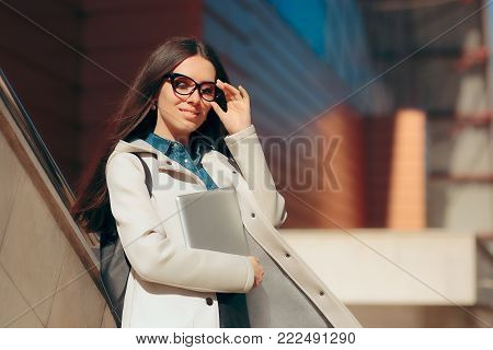 Urban Smart Casual Student Girl with Eyeglasses and PC Tablet