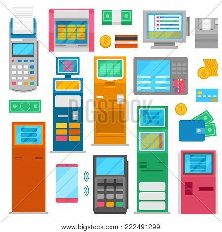 Payment machine vector pos banking terminal for credit card to pay and atm bank system machining for paying in store set illustration isolated on white background.