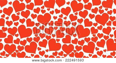 Color red hearts. Horizontal chaotic seamless pattern. Vector red big and small hearts background. Bright pattern with hearts for fabric or design project.