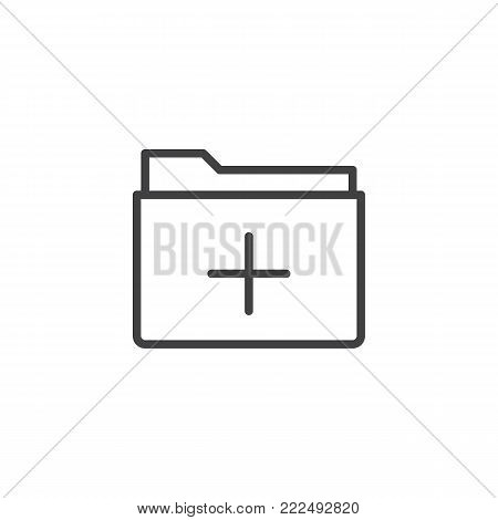 Add folder line icon, outline vector sign, linear style pictogram isolated on white. Folder plus symbol, logo illustration. Editable stroke
