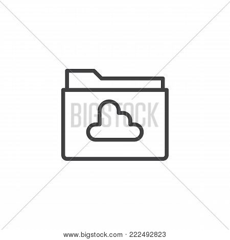 Cloud folder line icon, outline vector sign, linear style pictogram isolated on white. Folder with cloud computing symbol, logo illustration. Editable stroke