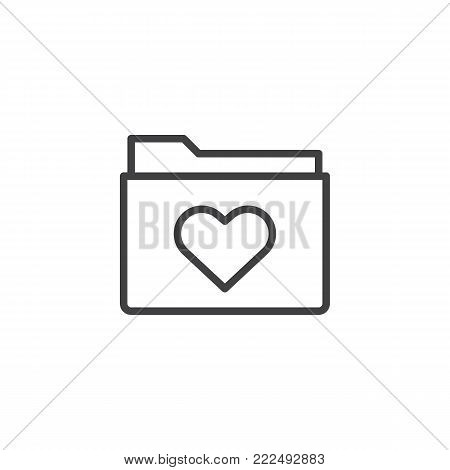 Love favorite folder line icon, outline vector sign, linear style pictogram isolated on white. Heart on folder symbol, logo illustration. Editable stroke
