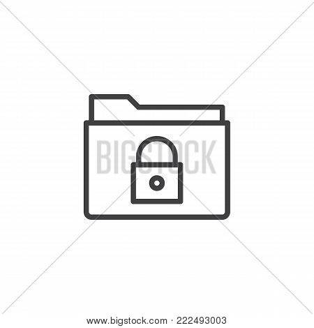 Lock folder line icon, outline vector sign, linear style pictogram isolated on white. Secret file folder symbol, logo illustration. Editable stroke