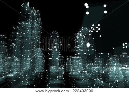 Abstract 3d city rendering with dots and digital elements. Technology concept. 3d illustration