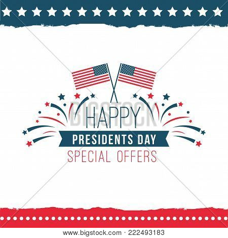 Happy presidents day special offer poster. Sale label at legal holiday in the U.S., logo with national flags in vintage design. Vector flat style cartoon illustration isolated on white background