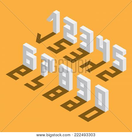 Numbers sequence from 1 to 9 and 0, drawn in isometric style, based on blocks. Drop shadow on yellow background.