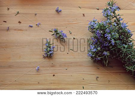 Close up, top shot of fresh Mediterranean herbs bouquet, rosemary on rustic wooden table, selective focus, space for text, minimal food style concept