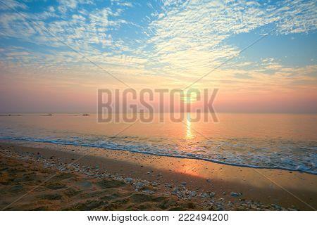 Romantic sky on the beach (Had-Sai-Med-Rak) at Phetchaburi province, Thailand.