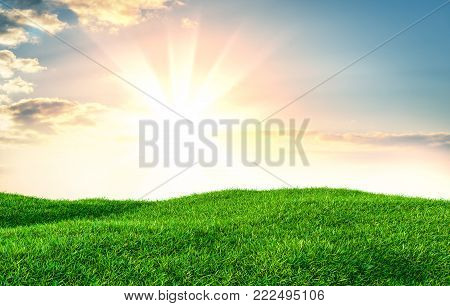 Green grass field on small hills and blue sky with clouds. 3d illustration