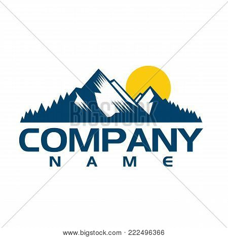 Mountain logo template. Vector design element modern style for logotype, label, badge, emblem. Mountain logo, hills logo, mountain symbol, mountain icon, rock climber logo.