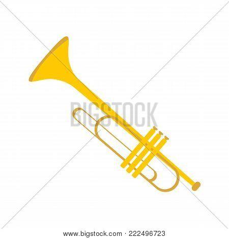 Simple Gold Trumpet Instrument Vector Illustration Graphic Design