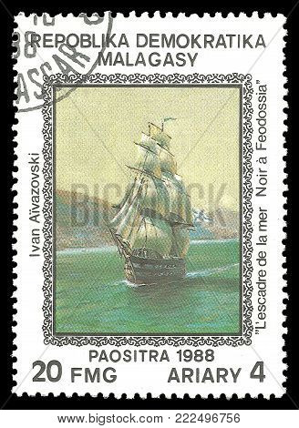 Madagascar - circa 1988: Stamp printed by Madagascar, Color edition on Art, shows Painting The Squadron of the Sea Black Feodossia by Ivan Aivazovski, circa 1988