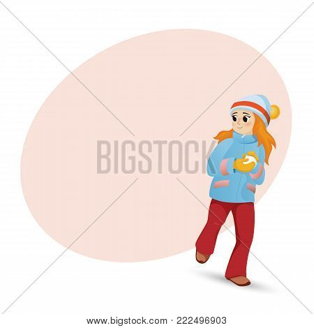 Pretty girl in warm clothes making snowball, front view portrait, and place for text, cartoon vector illustration isolated on white background. Happy girl playing snowballs and round space for text
