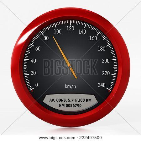 Speed gauge isolated on white background. 3D illustration.