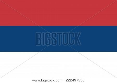 Civic flag of Serbia in national colors, vector